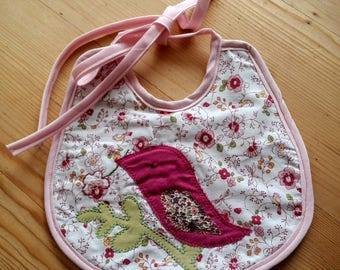 Embroidered appliqué bird baby bib