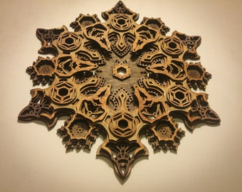 Mandala Multilayer Laser Cut Wood Sculpture Sacred Geometry Visionary Art