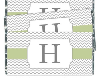Chevron Monogram Candy Wrappers, Wedding Candy Wrappers - fit over chocolate bars - CUSTOM DESIGN- baby shower, wedding shower