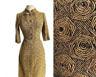 Vintage 50s wiggle skirt suit/ mustard yellow & black abstract flowers/ rose swirls two-piece set/ Laurette Classic by Laura Lee Montreal XS
