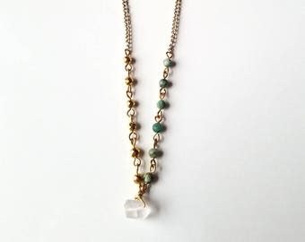 African Turquoise & Gold Hematite Asymmetrical Necklace