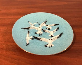 Mid Century AnneMarie Davidson Seagull Enamel on Copper Dish