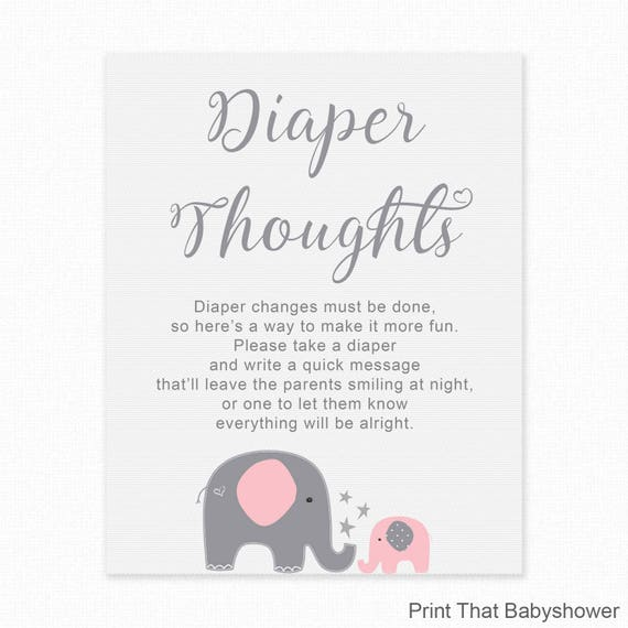 Baby Shower Game Diaper Thoughts Pink Elephant Baby Shower