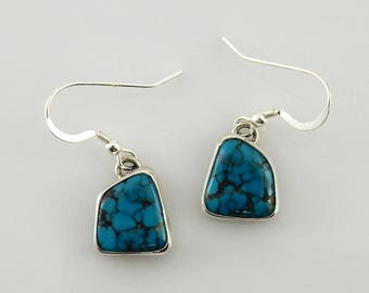 Silver Turquoise Earrings/Sterling Silver Turquoise Dangle Earrings/Handmade Silver Turquoise Dangle Earrings/Blue Turquoise Earrings
