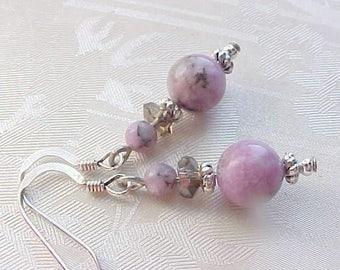 Genuine Lepidolite Earrings Purple Gemstone Earrings Orchid Purple Earrings Love Stone Earrings Girlfriend Gifts Wives Metaphysical Earrings
