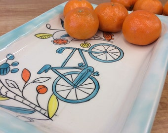 Handmade Tray with Bike Drawing. Glazed in Blue and Clear. MA141