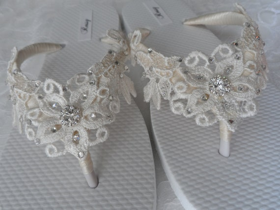 flops Flip Bridal Sandals Ivory Flip Bridesmaids Venice Shoes Venice White Flops Bridal Lace Flops Lace Wedding Flip TnSnxqF0