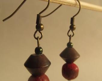 2215 - Coral Earrings, Wood