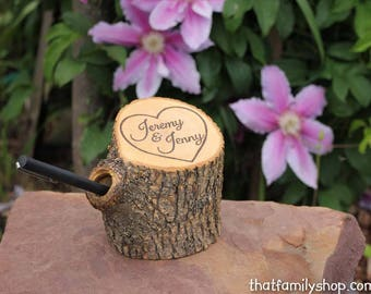 Wedding Guest Book Pen Holder Custom Names Initials Dates Personalized Rustic Decor