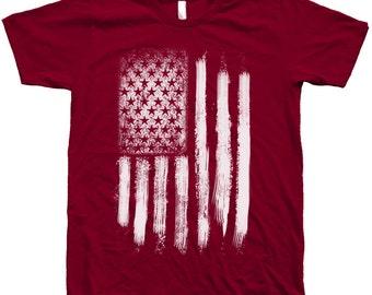 US Flag T Shirt Custom Hand Screen Print Crew Neck Available: S, M, L, XL, 2XL