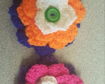CUSTOM crocheted flower brooch