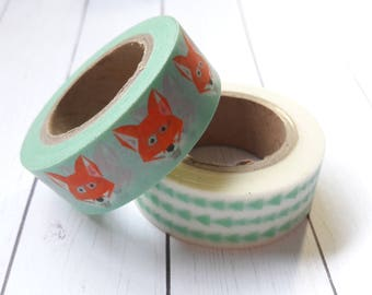 Foxes & Geometric Triangles Washi Tape Embellishments And Paper Craft Supplies