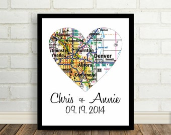 Denver Map Heart Poster Print - Any City Available Worldwide - Engagement Gift Wedding Gift Map of our Hearts Romantic Christmas Gift
