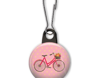Bicycle with flower basket zipper pull. Bike charm. Zipper pull for your wallet, purse, backpack, jacket, or planner.