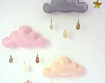 3 x  Spring Whimsical rain clouds Mobiles for nursery by The Butter Flying
