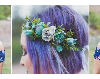 Blue & Grey Flower Crown