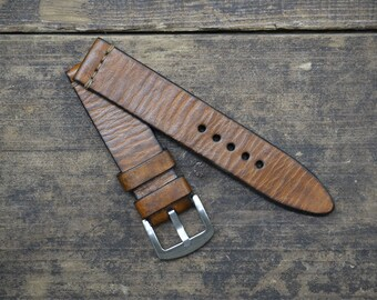 20mm Handmade Vintage Brown Leather Watch Strap
