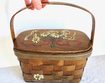 60s Caro Nan Wooden Basket Purse Painted Daisies Vermont Picnic Basket Handbag Retro fashion Jackpot Jen vintage