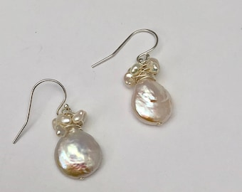 sterling silver wire wrapped freshwater pearl dangle earrings