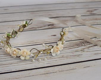 Handcrafted Cream Pearl and Rhinestone Flower Crown - Cream Wedding Hair Piece - Bridal Flower Crown - Flower Girl Halo - Ivory Rose Crown