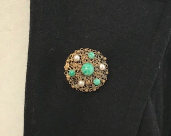 Vtg Gold Filigree, Pearl, and Peking Glass Brooch, Green Stone and Pearl Brooch