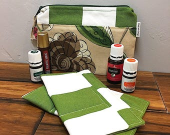 Green stripe pouch, essential oils bag, cosmetic bag, make-up bag, gadget bag, essential oils case, travel oils case, zippered pouch
