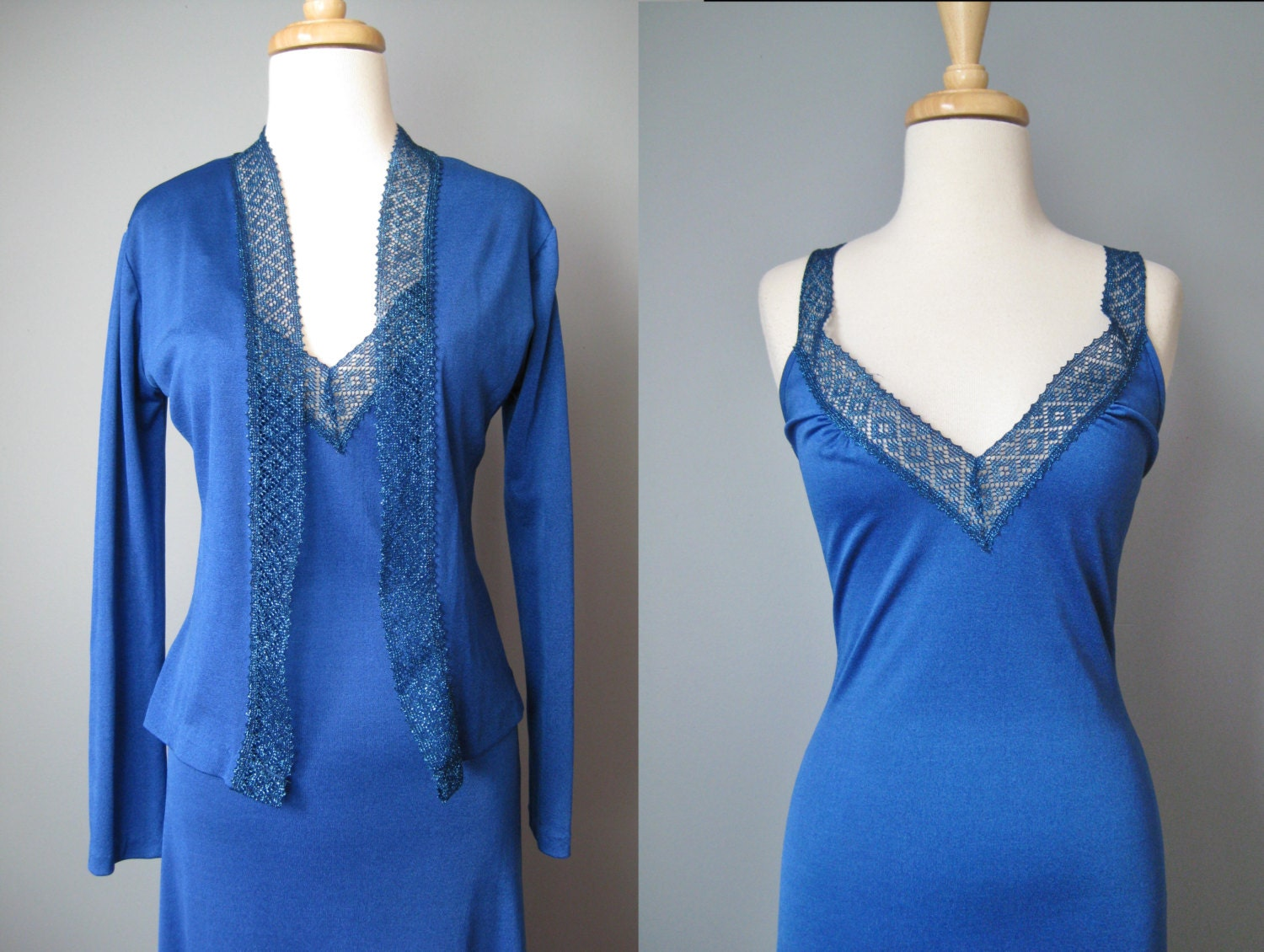 Royal Blue Prom Dress / Vtg 70s / Seventies Soul Now