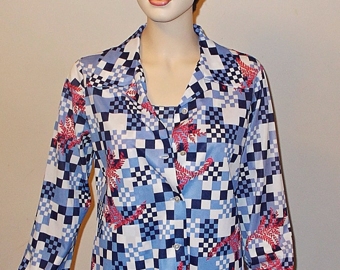 Deadstock Vintage 70s Mister Remo Of California Mod Psychedelic Blue White Check Floral Leaf Polyester Womens Long Sleeve Shirt Top Set