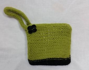 Green felted wool wristlet handbag