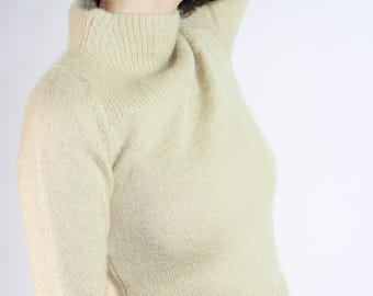 Taupe Mohair Sweater / Mock Neck Knit / XS Extra Small