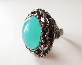 Ornate ring. Chalcedony ring. Aqua ring. Aqua chalcedony. Vintage ring. Antiqued silver ring. Statement ring. Cocktail ring. Blue stone ring
