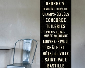 PARIS SUBWAY ART, Paris Wall Art, Paris Subway Sign, French Wall Art, Paris Art, Vintage French Poster, Paris Wall Decor, Travel Art, 20x60.