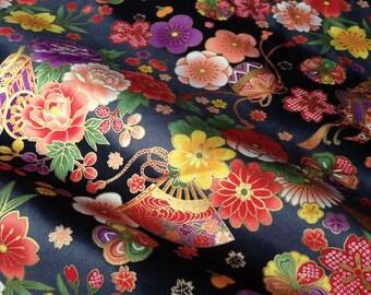 Japanese fabric, flowers, black background, cotton 110 x 50 (232)