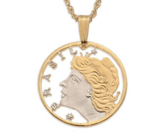 "Brazilian Pendant and Necklace, Brazilian 5 Centavos Coin Hand Cut, 14 Karat Gold and Rhodium Plated, 3/4"" in Diameter, ( # 41 )"