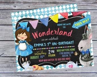 Alice in Wonderland Birthday Invitation, Alice in Wonderland Birthday Invitations, Alice in Wonderland Party, Alice Birthday, Alice Party,