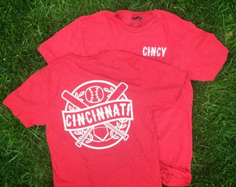 Cincy Baseball Tee.  Cincinnati Redlegs t-shirt Red Ultra Soft Blended tee. Retro Vintage Throwback big red machine Reds MLB summer shirt