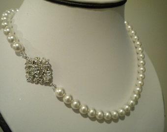 Bridal Pearl necklace, Vintage Style, rhinestone and Pearl necklace, Bridal Necklace Robyn