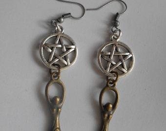moon goddess earrings,pentacle and goddess earrings,earrings,Wiccan,Wicca,pagan