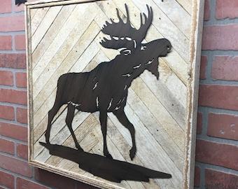 Rustic Moose Decor, Moose Decor, Moose Wall Art, Moose Wall Decor, Cabin Decor, Cabin Wall Decor, Wildlife Decor, Wildlife Art, Adventure