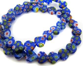 Dark Blue Heart Millefiori Beads - CG89