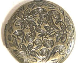 12 pcs of brass locket floral 27mm round-BL3033-antique bronze