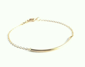 Dainty Bar Bracelet, Gold Tube Bracelet, Thin Gold Bracelet, Simple Gold Bracelet, Minimal Bracelet, Everyday Bracelet, Friendship Bracelet