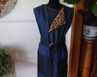 Recycled denim sleeveless coat/jacket