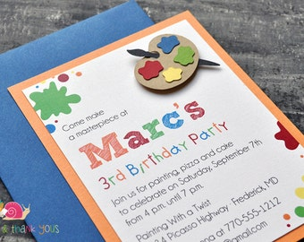 Art Party Invitations · A2 LAYERED · Primary Blue · Birthday Party   Painting Party   Artist   Paint Palette