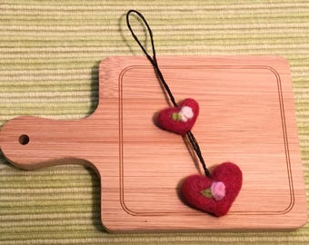 Wool felted heart decoration