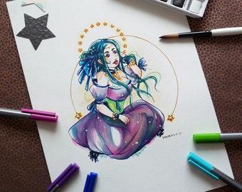 """Original watercolor drawing A4 - """"STARS AND MOON"""""""