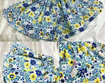 Blue Floral Baby Girl Twirl Skirt