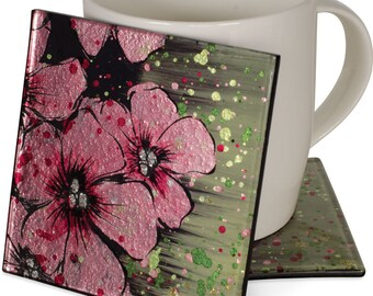 "Handcrafted Art Glass Coaster Set - Cozenza Glassware - Cherry Blossom 4"" Cozenza Glass Coaster Set"