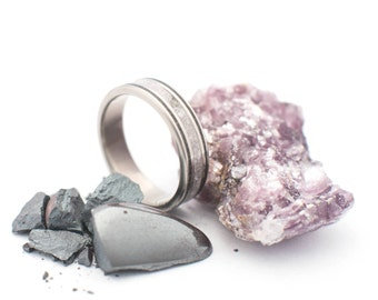 Titanium Ring With Lepidolite and Hematite Inlays. Wedding And Engagement Ring. For Men And Women. Custom Made.