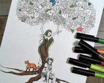 fantasy colouring page, adult colouring, dryad colouring page, printable colouring page